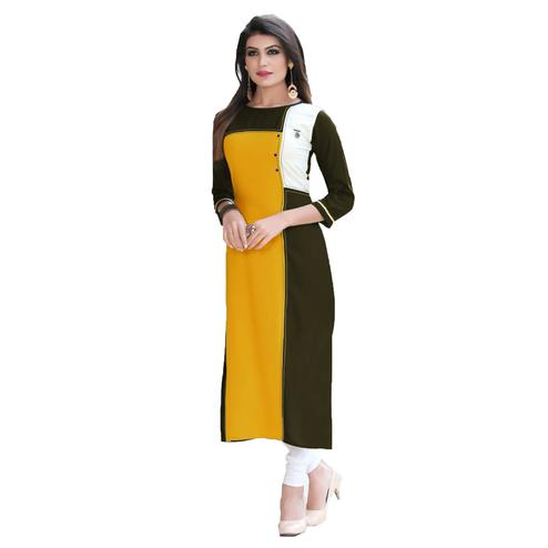 Glaring Yellow Colored Casual Printed Rayon Kurti