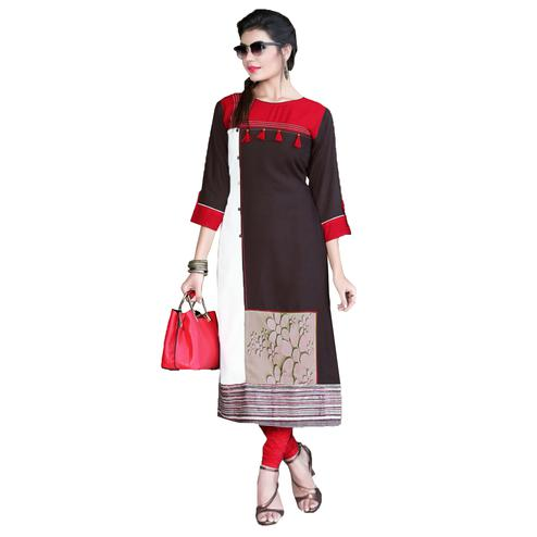 Dashing Brown Colored Casual Printed Rayon Kurti