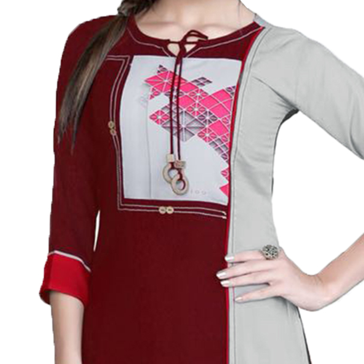 Magical Maroon Colored Casual Printed Rayon Kurti