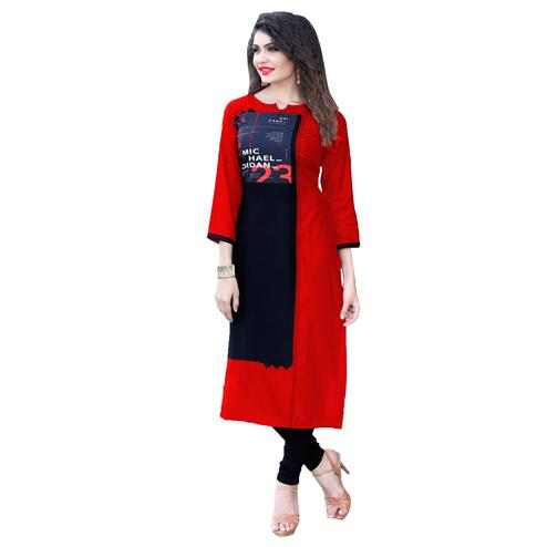 Ravishing Red Colored Casual Printed Rayon Kurti