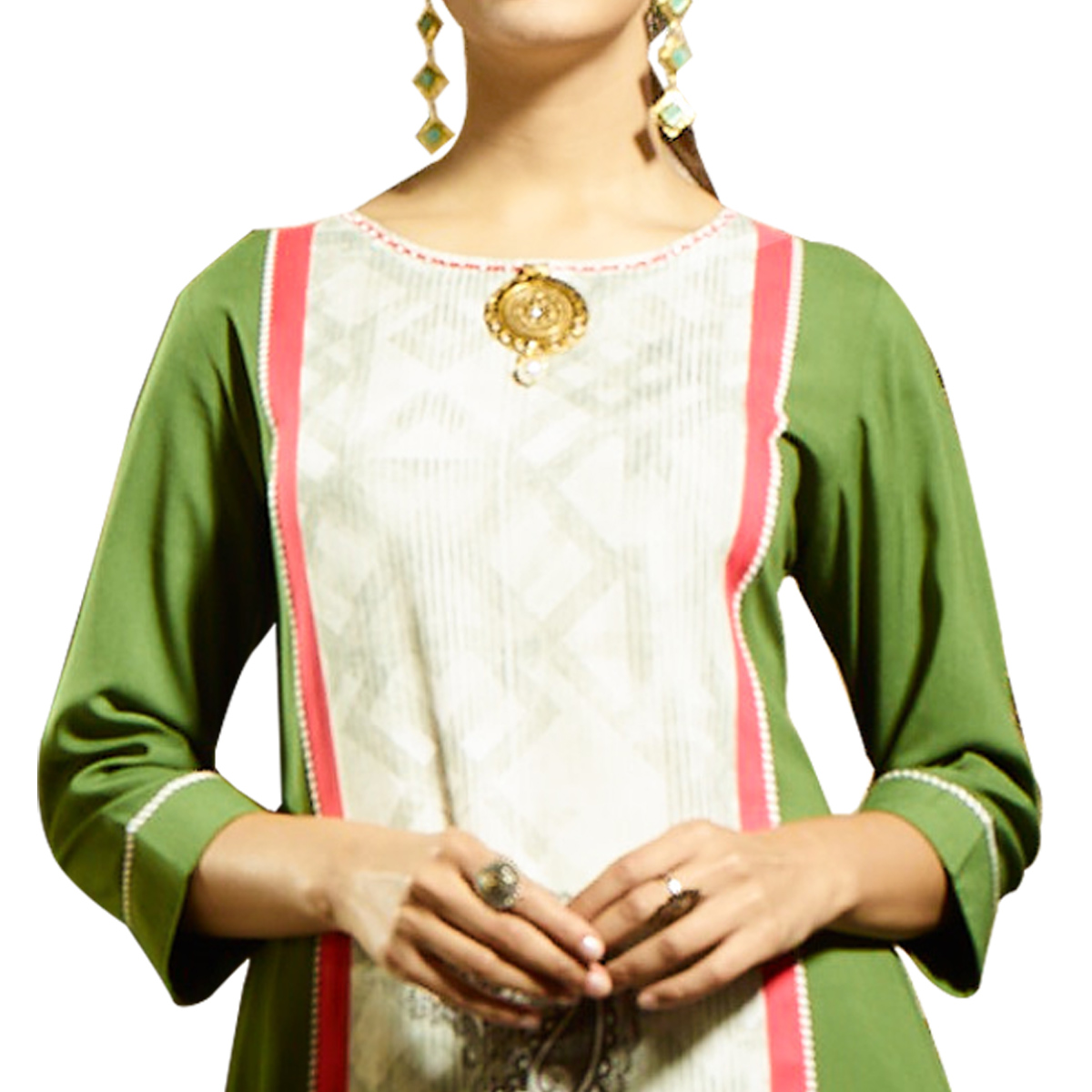 Refreshing Green Colored Partywear Printed Rayon Kurti