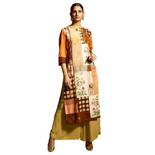 Trendy Orange Colored Partywear Printed Rayon Kurti