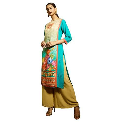 Glowing Sky Blue Colored Partywear Printed Rayon Kurti