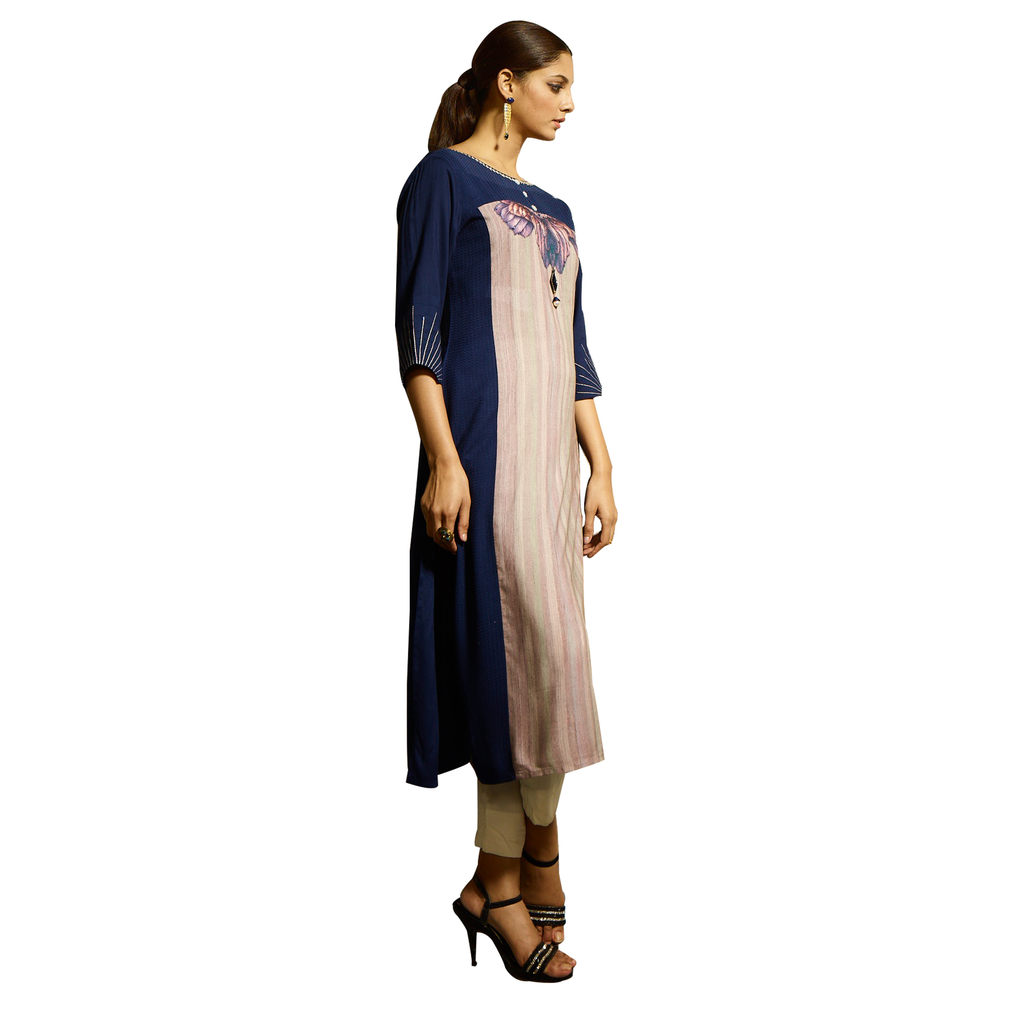 Demanding Navy Blue Colored Partywear Printed Rayon Kurti