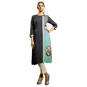 Desiring Gray Colored Partywear Printed Rayon Kurti