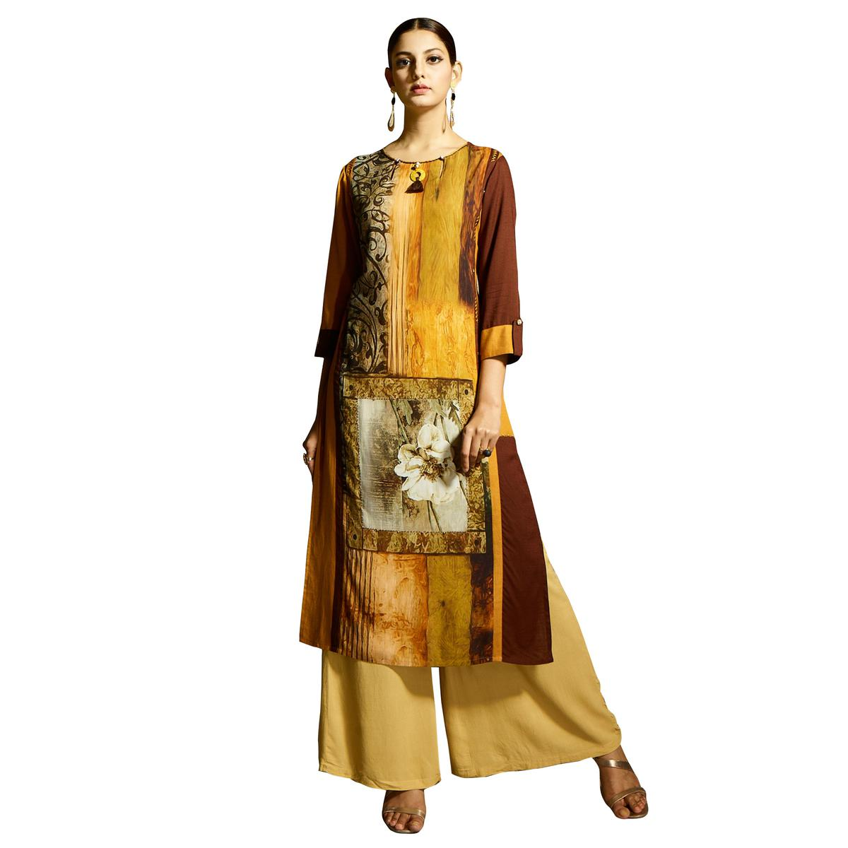 Impressive Yellow Colored Partywear Printed Rayon Kurti