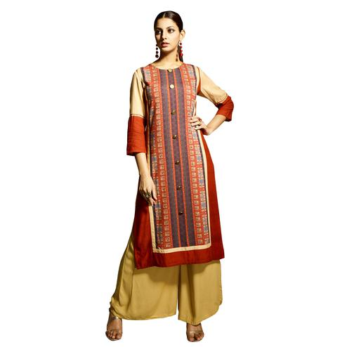 Stylish Orange-Off White Colored Partywear Printed Rayon Kurti