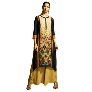 Lovely Navy Blue Colored Partywear Printed Rayon Kurti