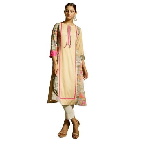 Pleasant Cream Colored Partywear Printed Rayon Kurti