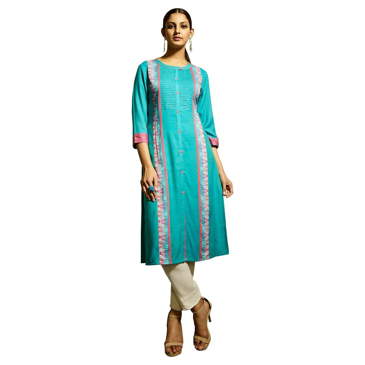 Charming Sky Blue Colored Partywear Printed Rayon Kurti