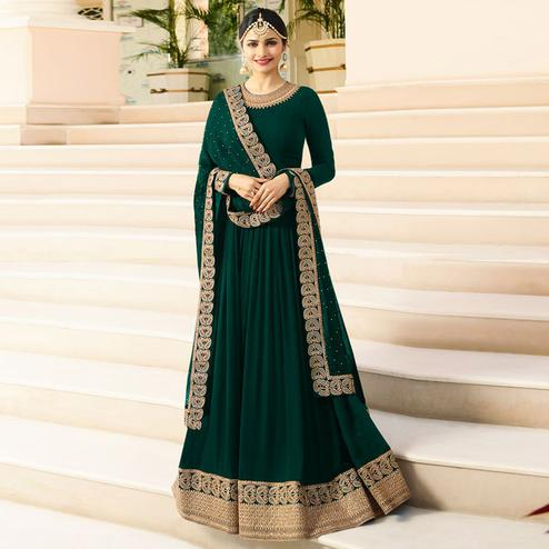 Excellent Dark Green Colored Designer Partywear Embroidered Georgette Anarkali Suit