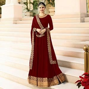 Arresting Red Colored Designer Partywear Embroidered Georgette Anarkali Suit