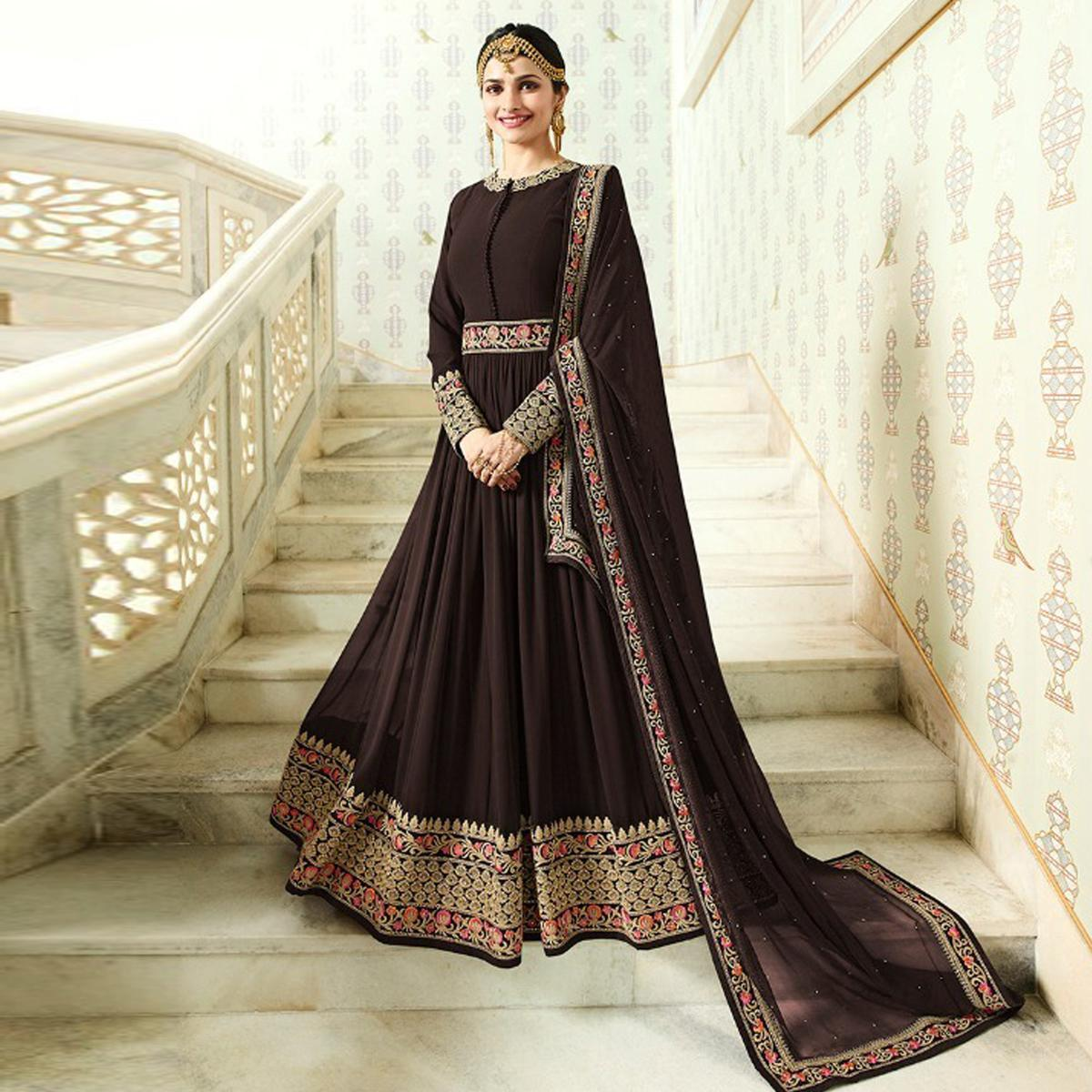 Demanding Brown Colored Designer Partywear Embroidered Georgette Anarkali Suit