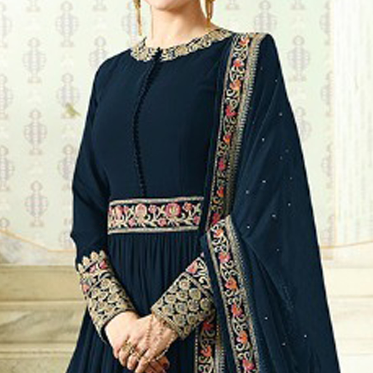 Exceptional Dark Teal Blue Colored Designer Partywear Embroidered Georgette Anarkali Suit