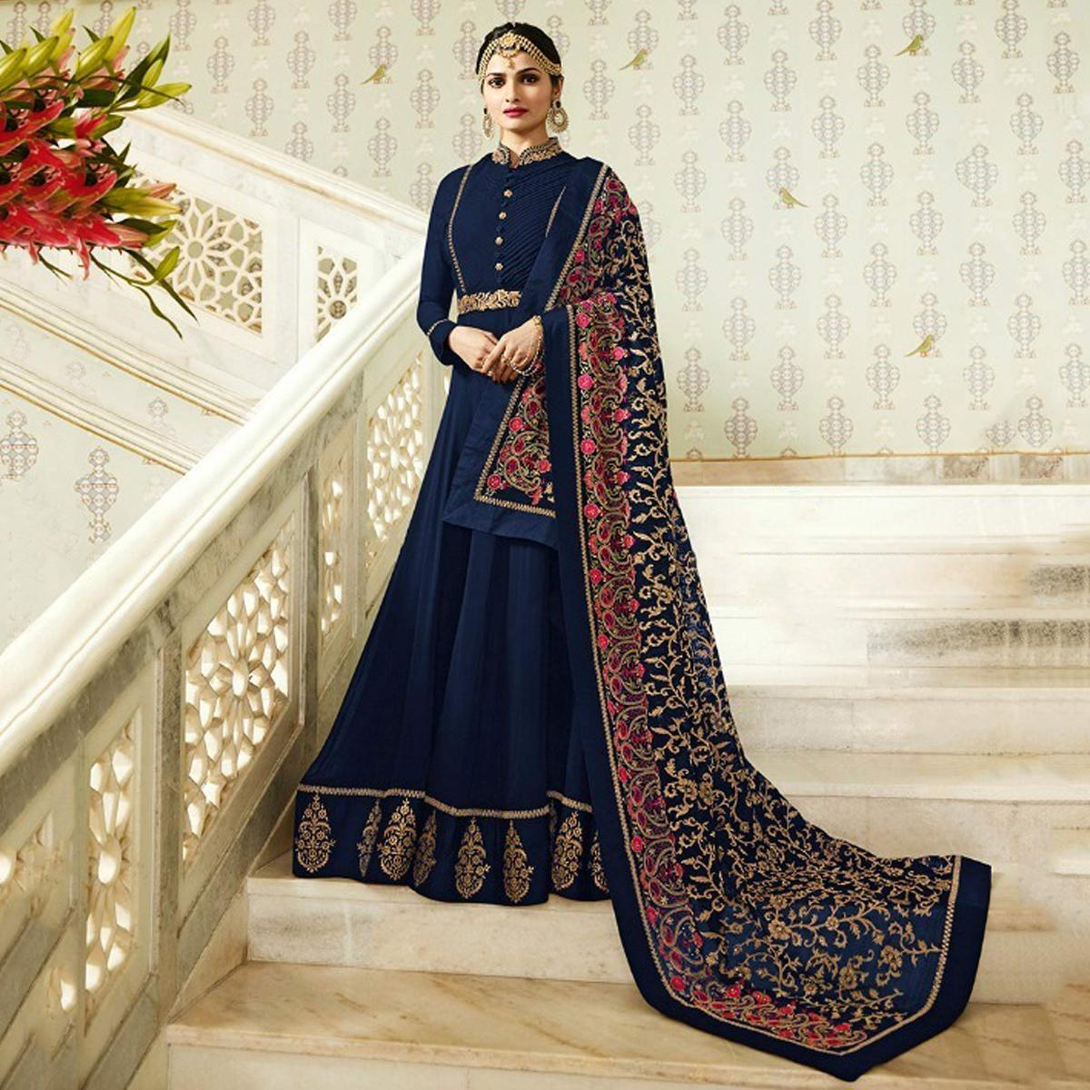Refreshing Navy Blue Colored Designer Partywear Embroidered Georgette Anarkali Suit