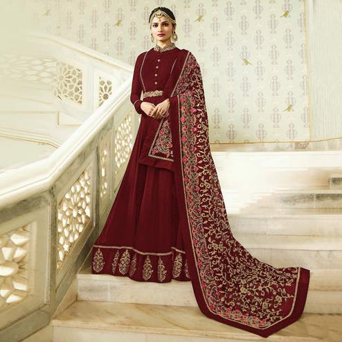 Trendy Maroon Colored Designer Partywear Embroidered Georgette Anarkali Suit