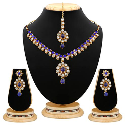 Alluring Design Blue Stone & Kundan Gold Finishing Necklace Set with Maang Tikaa