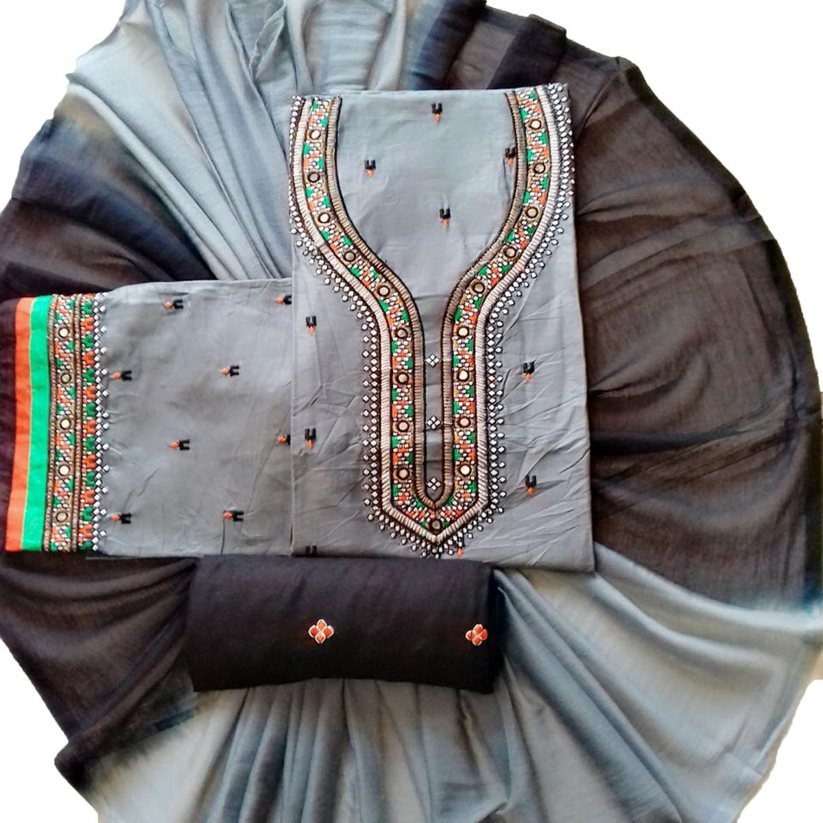 Trendy Gray Colored Partywear Embroidered Cotton Dress Material