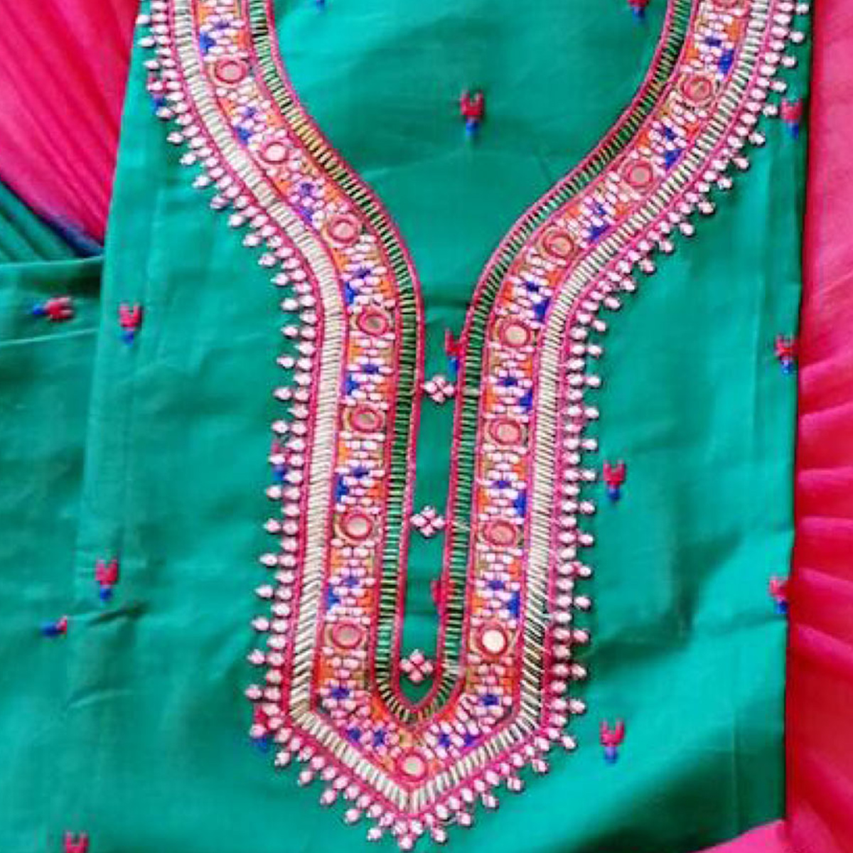 Elegant Turquoise Green Colored Partywear Embroidered Cotton Dress Material