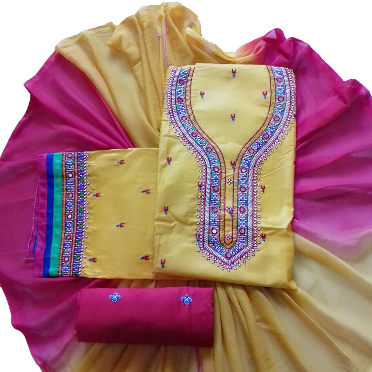Stylish Light Yellow Colored Partywear Embroidered Cotton Dress Material