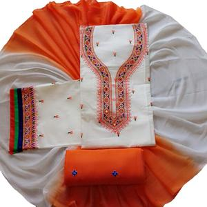 Desiring White Colored Partywear Embroidered Cotton Dress Material