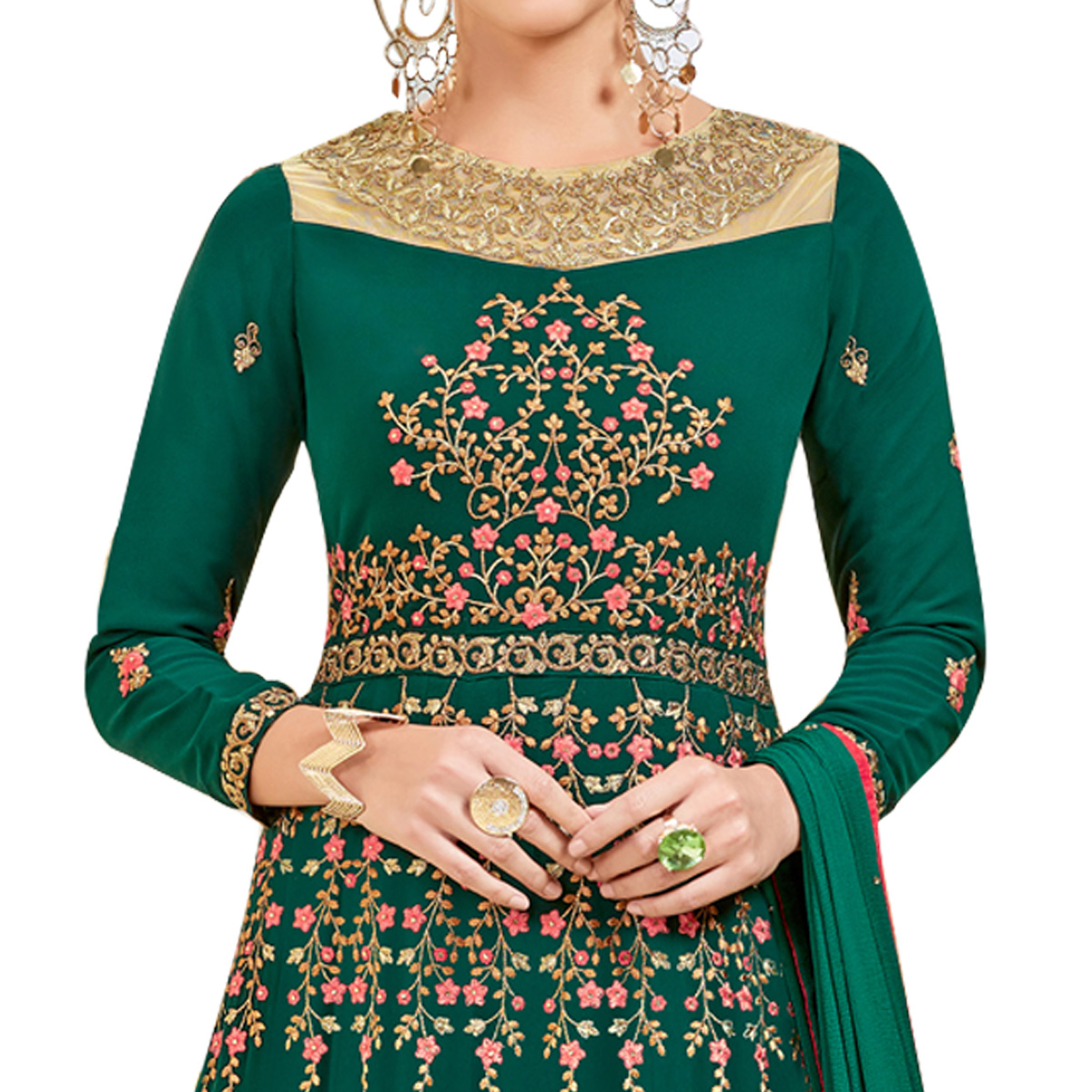 Graceful Green Colored Party Wear Embroidered Georgette Anarkali Suit
