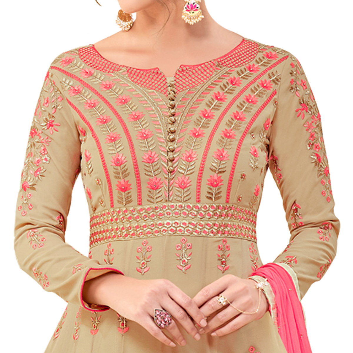 Beautiful Beige Colored Party Wear Embroidered Georgette Anarkali Suit