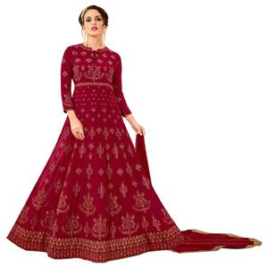 Ravishing Maroon Colored Party Wear Embroidered Georgette Anarkali Suit