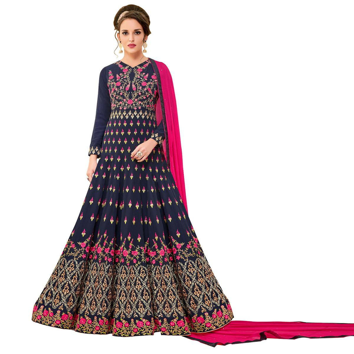 Glamorous Blue Colored Party Wear Embroidered Georgette Anarkali Suit