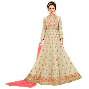 Elegant Light Beige Colored Party Wear Embroidered Georgette Anarkali Suit
