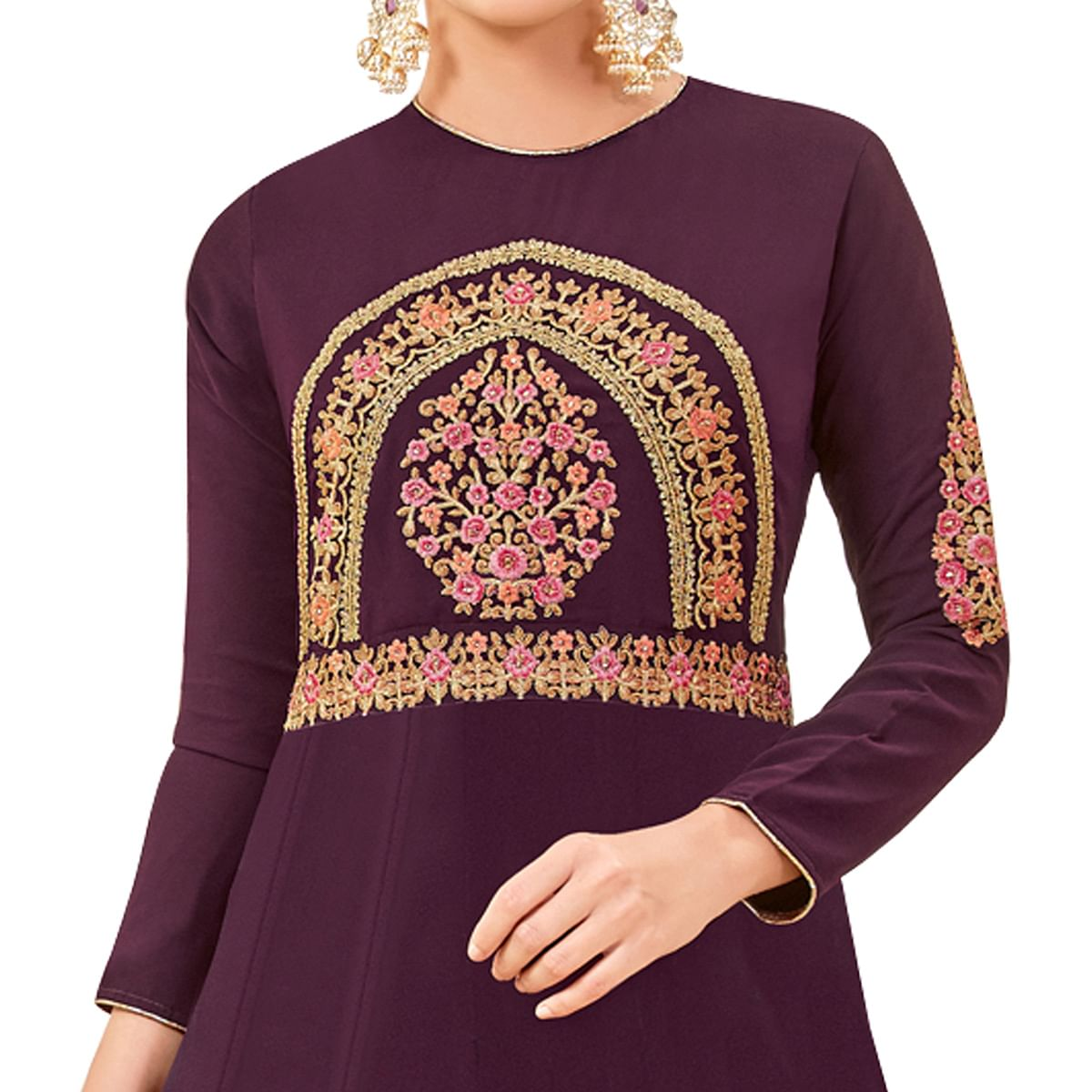Radiant Purple Colored Party Wear Embroidered Georgette Anarkali Suit