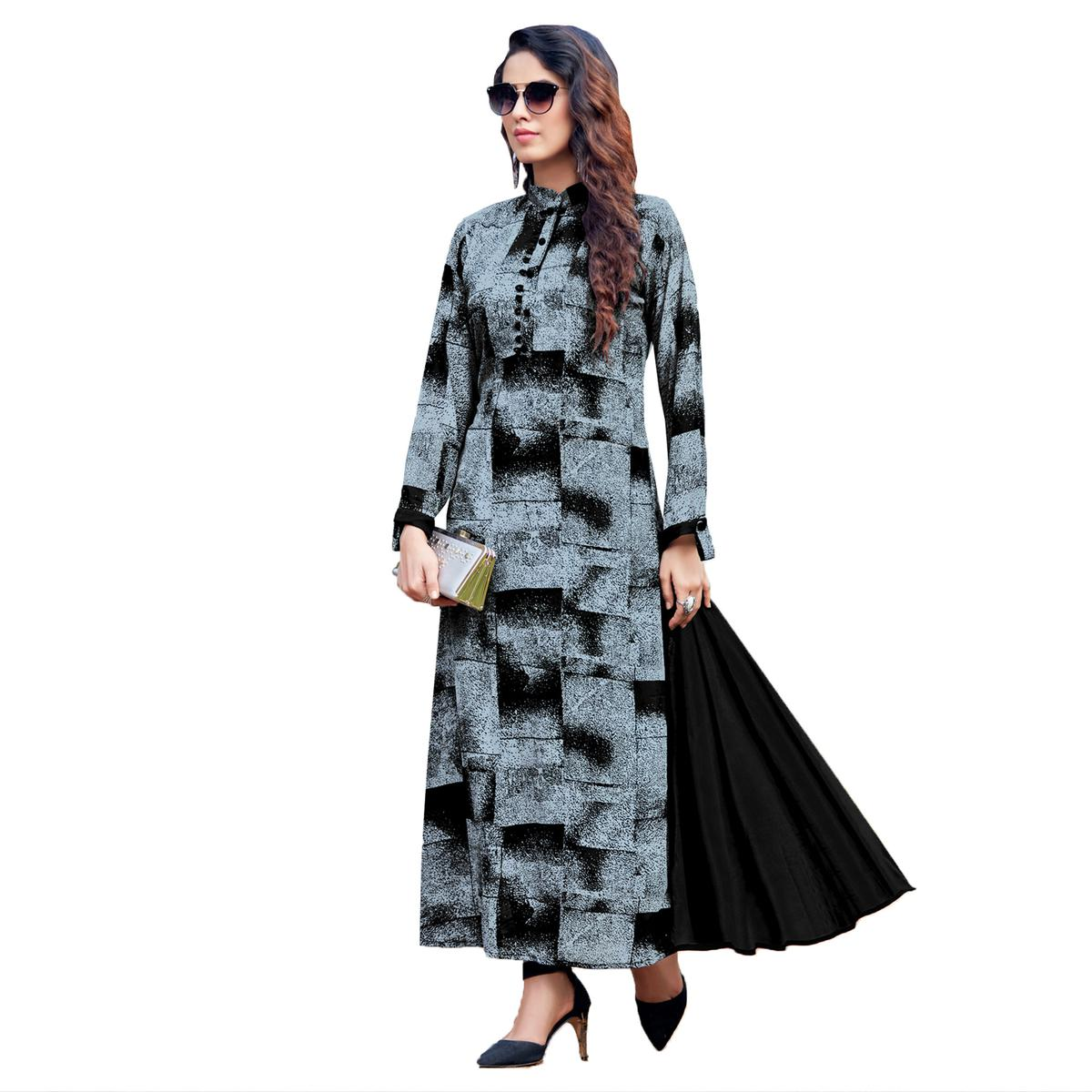 Bold Grey Colored Party Wear Printed Georgette Kurti