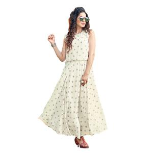 Blissful White Colored Party Wear Printed Georgette Kurti