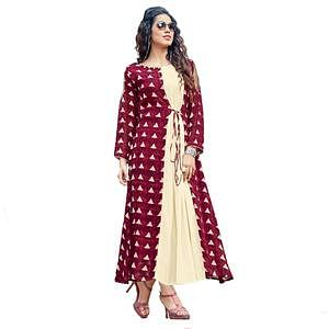 Gorgeous Maroon Colored Party Wear Printed Georgette Kurti