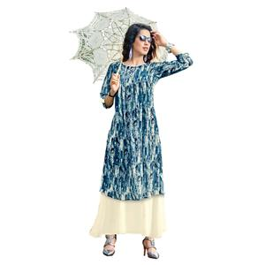 Mystic Blue Colored Party Wear Printed Georgette Kurti