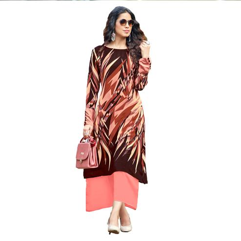 Dashing Brown Colored Party Wear Printed Georgette Kurti
