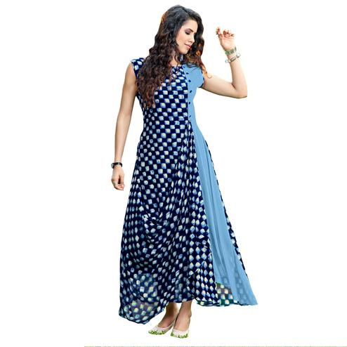 Blooming Blue Colored Party Wear Printed Georgette Kurti