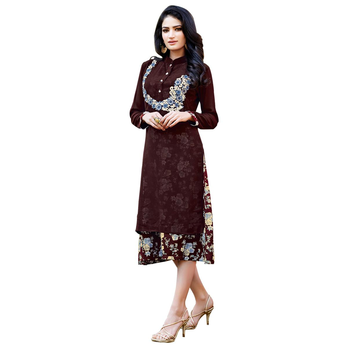 Ravishing Brown Colored Party Wear Embroidered Georgette Kurti