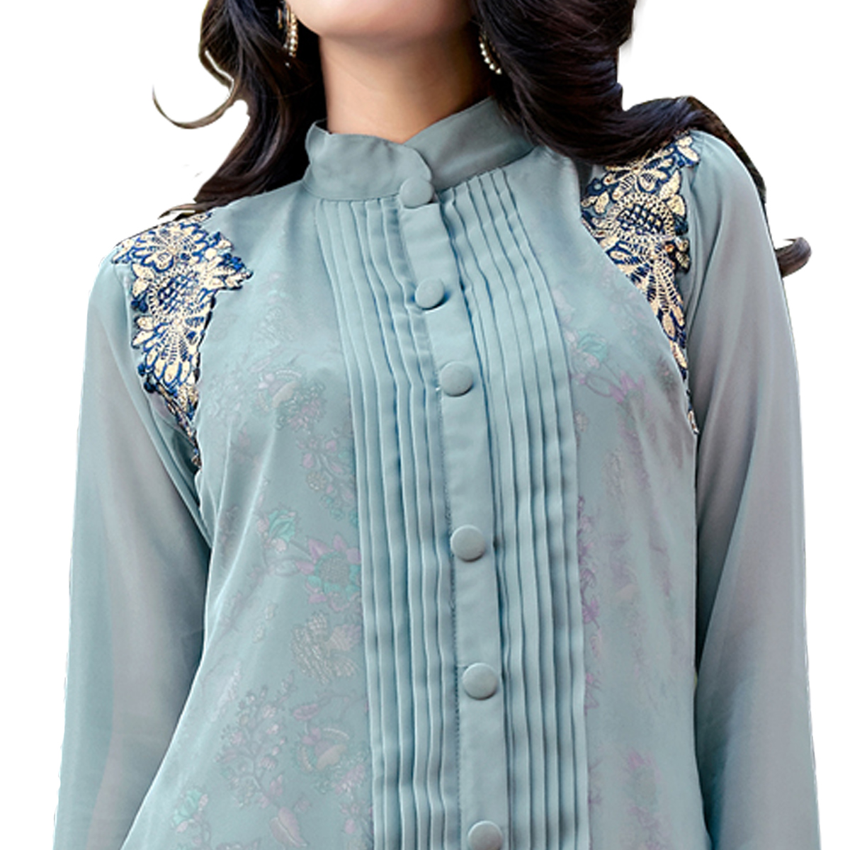 Magical Blue Colored Party Wear Embroidered Georgette Kurti