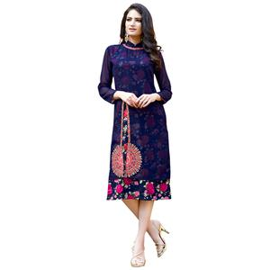 Radiant Blue Colored Party Wear Embroidered Georgette Kurti