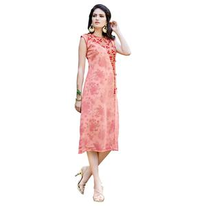 Vivid Peach Colored Party Wear Embroidered Georgette Kurti