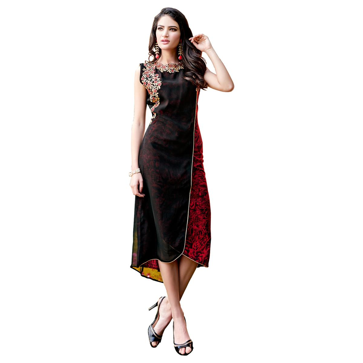 Majestic Black Colored Party Wear Embroidered Georgette Kurti