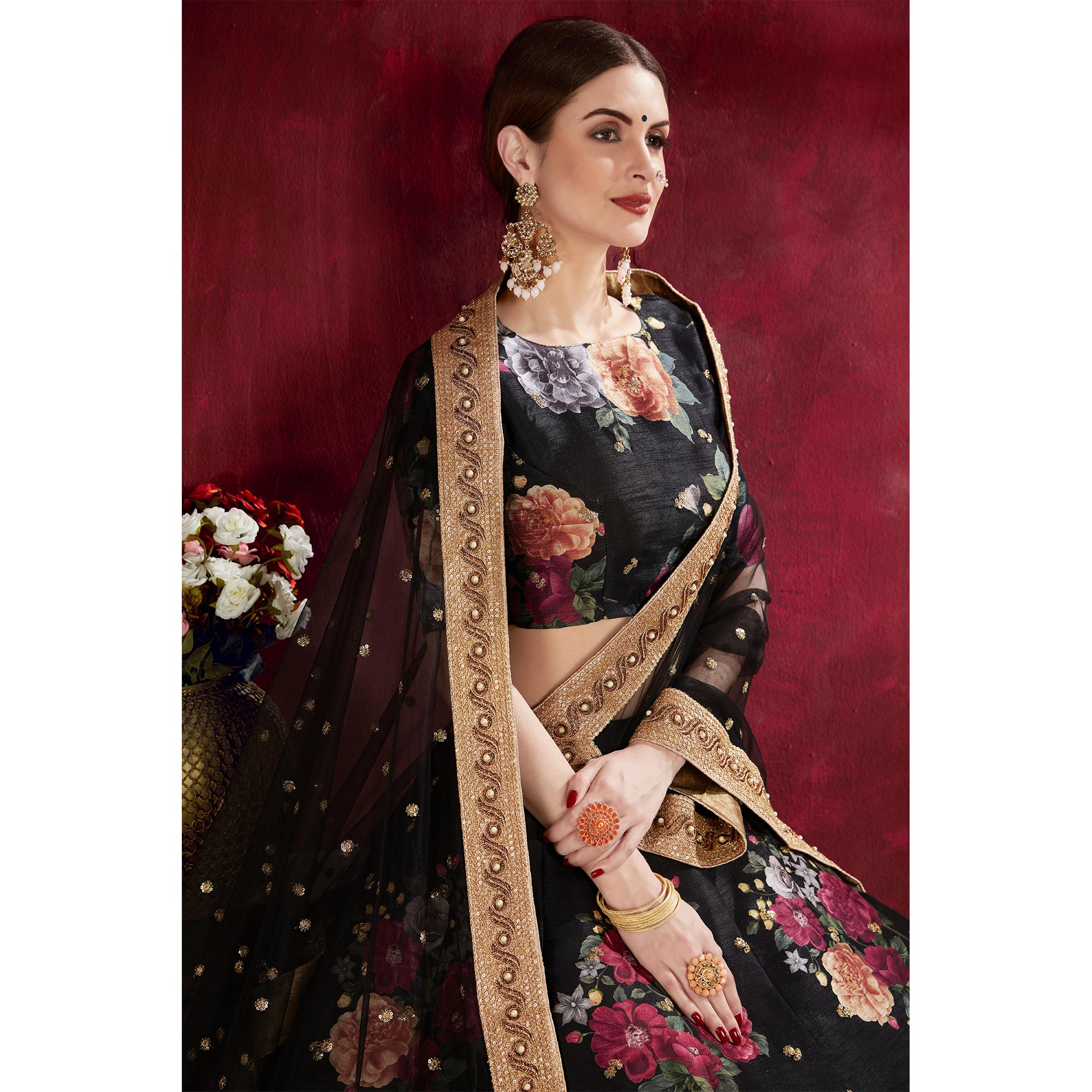 Arresting Black Colored Partywear Designer Embroidered Art Silk Lehenga Choli