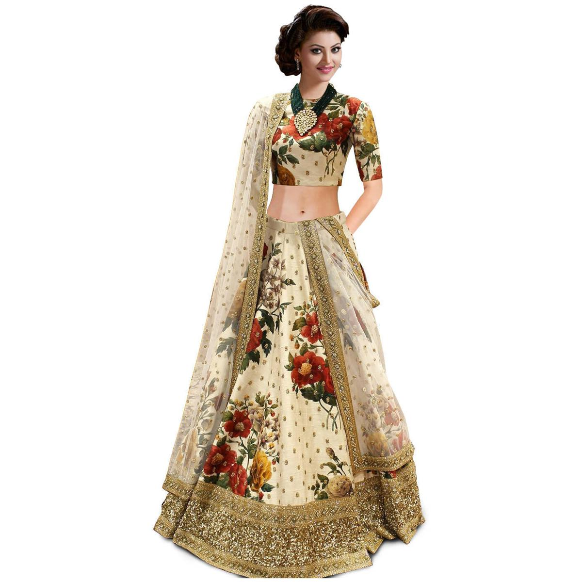 Eye-Catching Cream Colored Partywear Designer Embroidered Art Silk Lehenga Choli