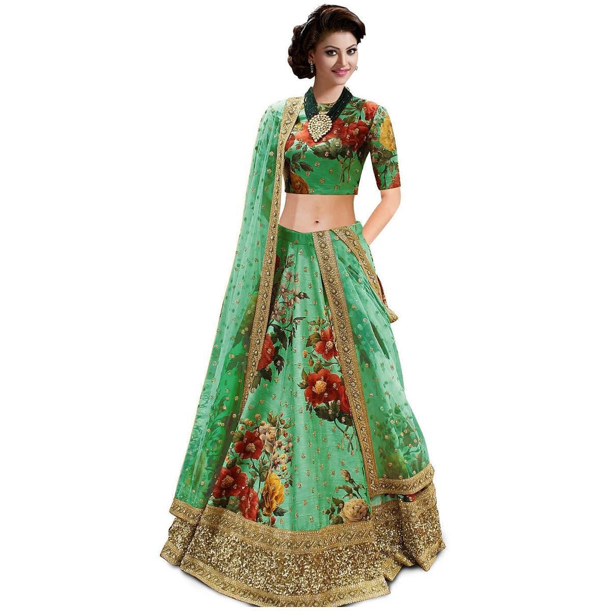 Desiring Green Colored Partywear Designer Embroidered Art Silk Lehenga Choli