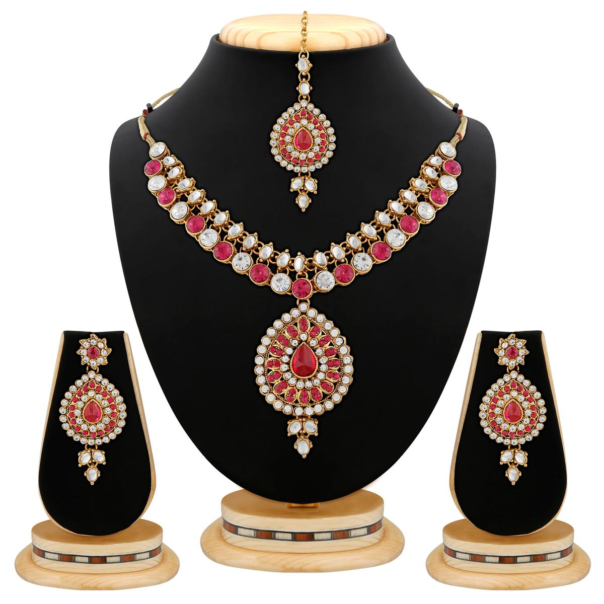 Graceful Design Gold Finishing Pink Stone & Kundan Necklace Set with Maang Tikaa