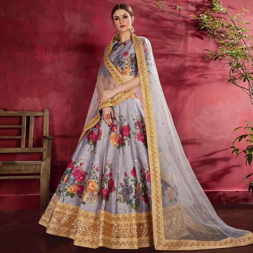Impressive Gray Colored Partywear Designer Embroidered Art Silk Lehenga Choli