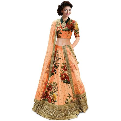 Adorning Peach Colored Partywear Designer Embroidered Art Silk Lehenga Choli