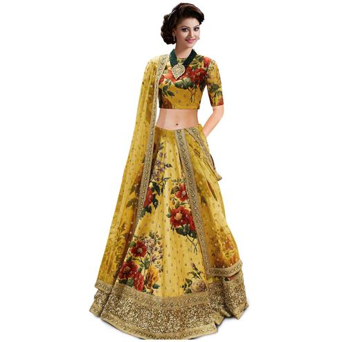 Gorgeous Yellow Colored Partywear Designer Embroidered Art Silk Lehenga Choli