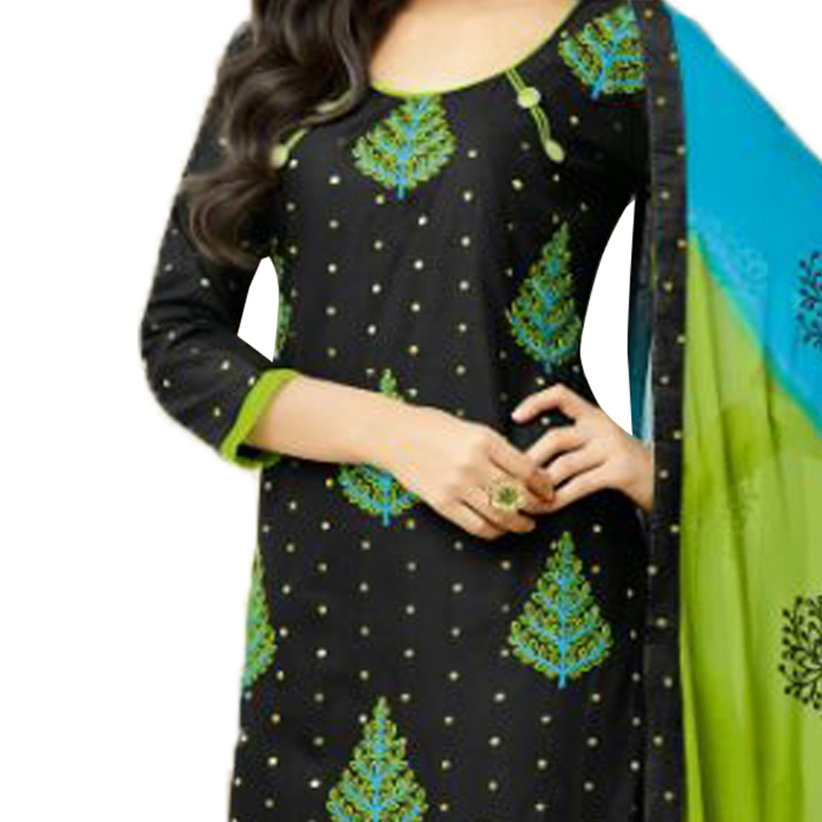 Desirable Black Colored Embroidered Chanderi Silk Dress Material